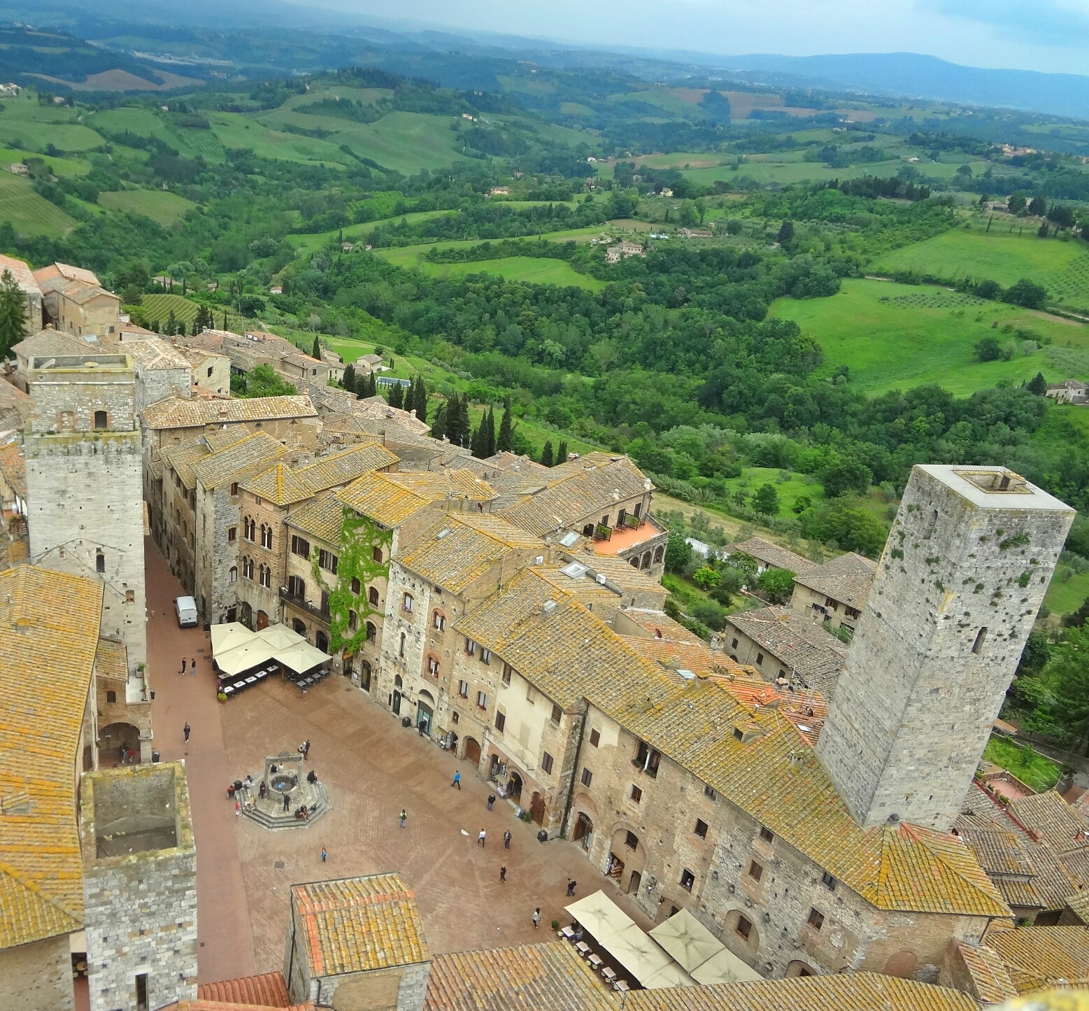 Rooftop View of Piazza Cisterna, San Gimignano