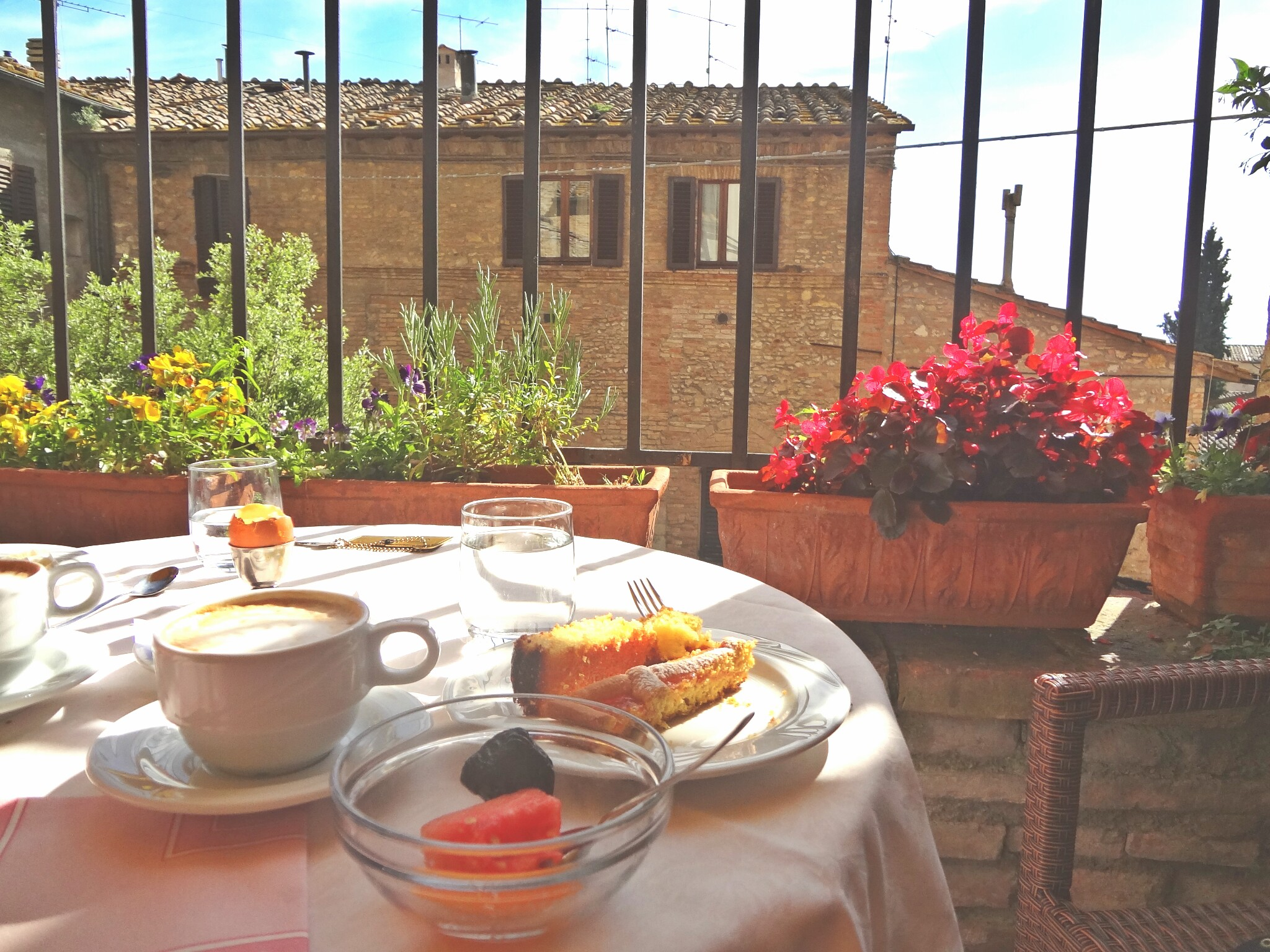 Breakfast on the Terrace of Leon Bianco, San Gimignano