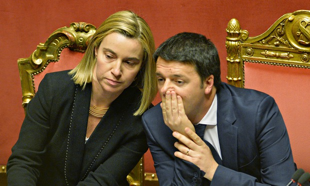 Matteo Renzi and Foreign Affairs Minister Federica Mogherini (Photo by Andreas Solaro/AFP/Getty Images)