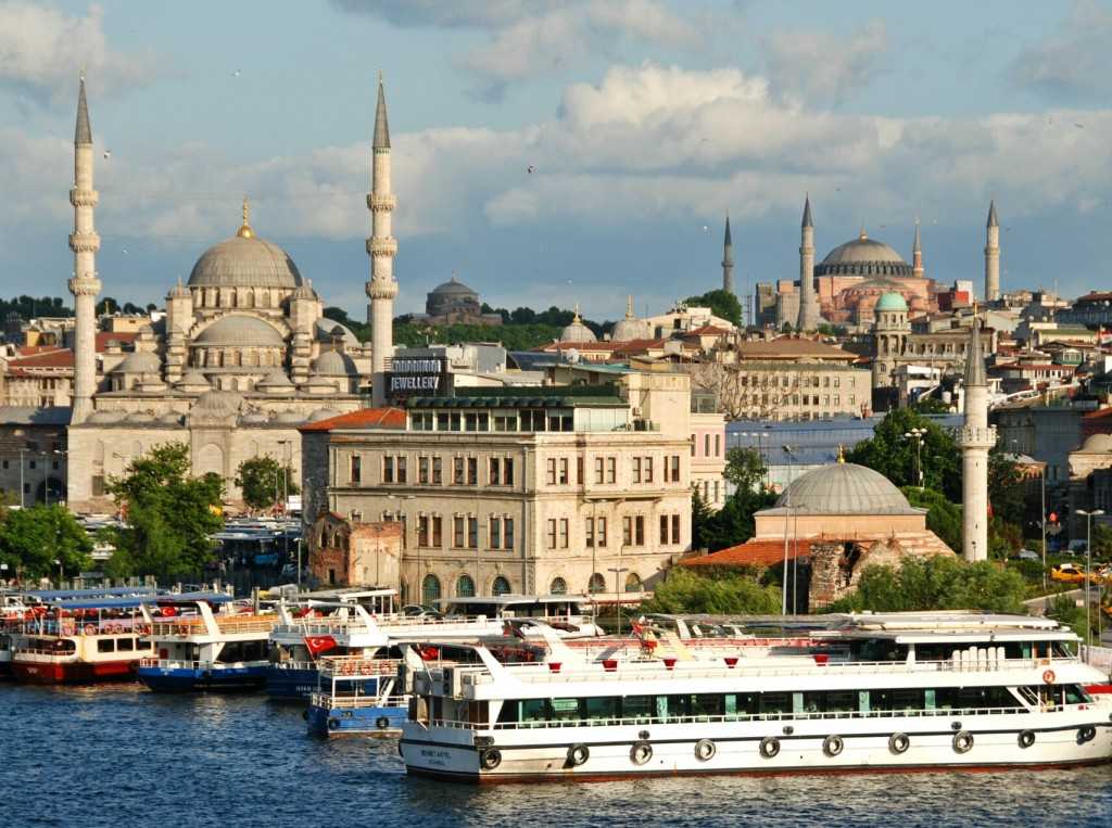 Istanbul Skyline From Galata Bridge