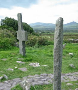 Ogham Stone and Cross, Kilmalkedar Church
